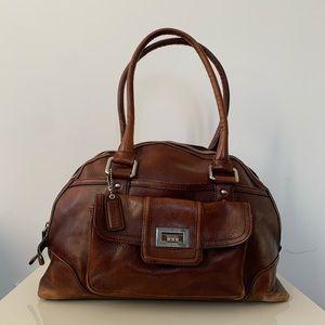 Danier Vintage Leather Dome Satchel Bag